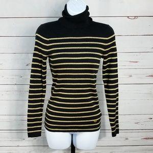 ... Lauren by Ralph Lauren Black Metallic Gold Sweater ... beb5ee202